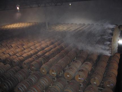 Wine barrel storage humidification